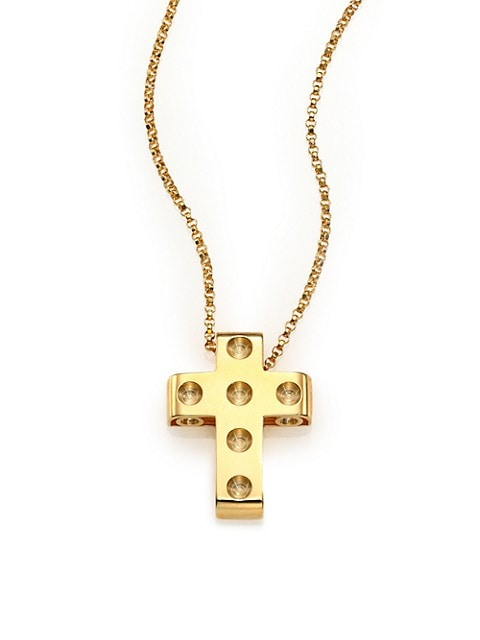 Pois Moi 18K Yellow Gold Cross Pendant Necklace