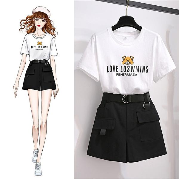 實拍夏季流行女裝新款歐貨潮洋氣白色t恤短袖+短褲套裝女配腰帶