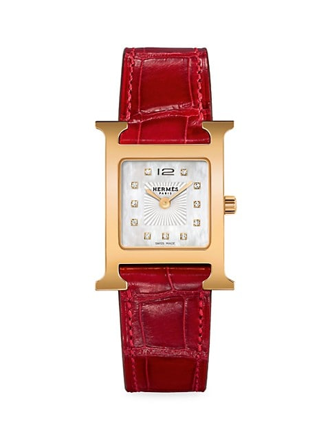 Heure H Diamond, Rose Goldplated Steel & Alligator Strap Watch