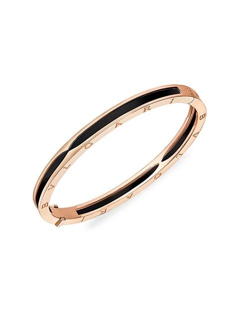 B.zero1 18K Rose Gold & Black Ceramic Small Hinged Bangle Bracelet