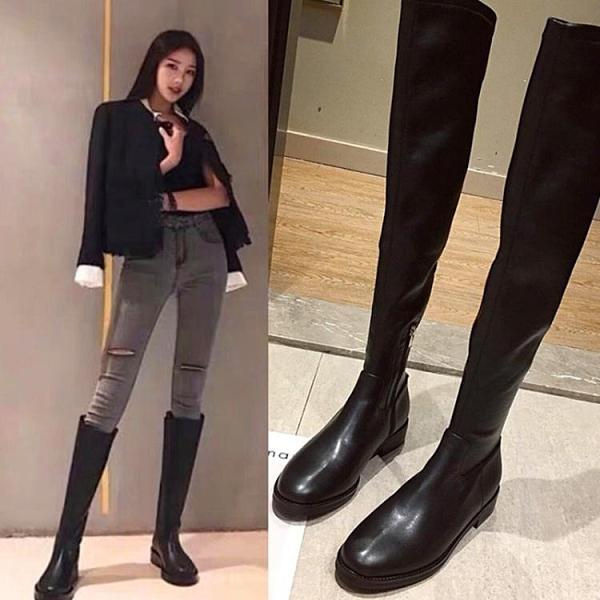 過膝靴女秋冬2020新款長筒皮靴平底彈力靴長靴瘦瘦靴高筒靴女靴子 南風小鋪
