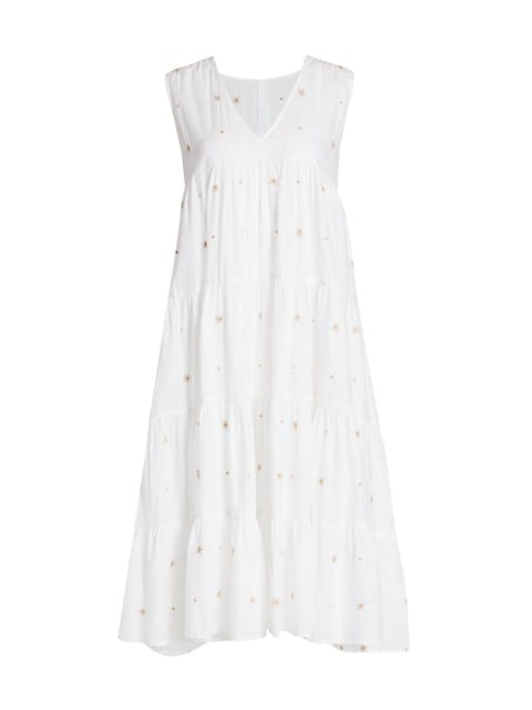 Chelsea Tiered Embroidered Midi Dress