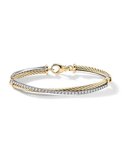 Crossover Bracelet with Diamonds in 18K Yellow & White Gold