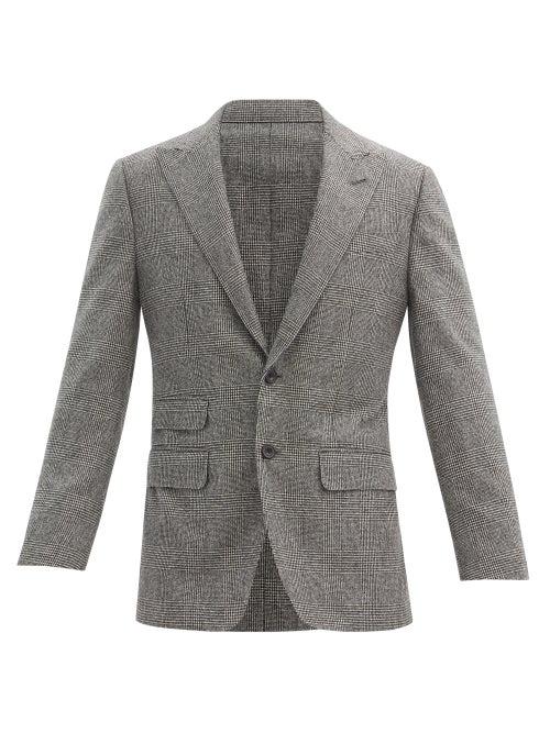 Thom Sweeney - Prince Of Wales-check Wool Blazer - Mens - Grey