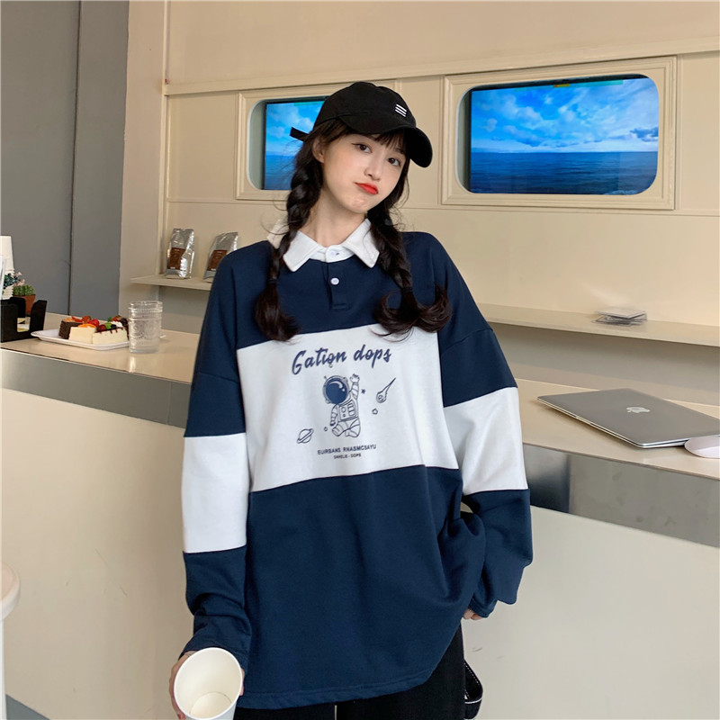 大學T 176036韓版學院風抓絨Polo衫太空人印花上衣
