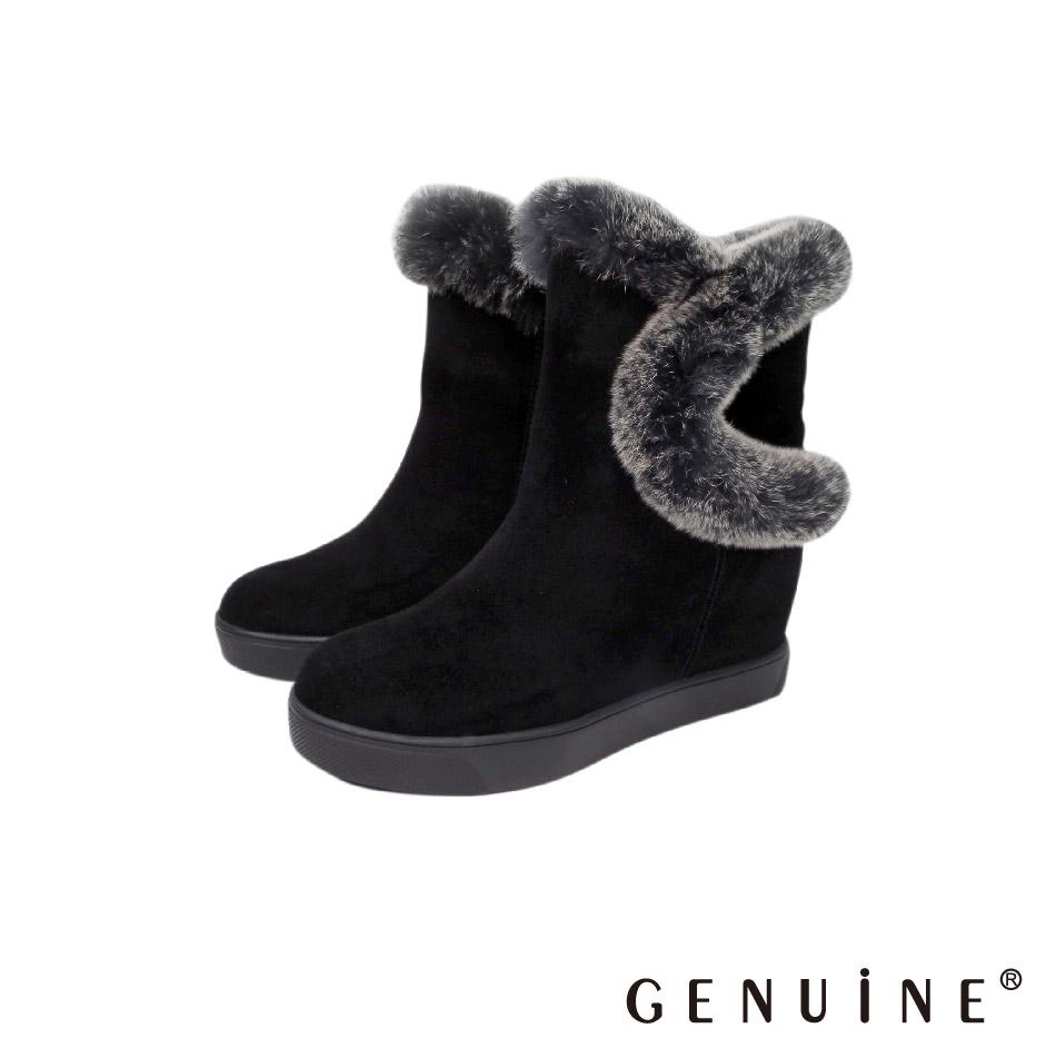 GENUINE 女款 黑色 牛反毛皮毛內增高毛毛靴-G880719