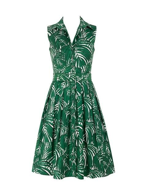 Audrey Sleeveless Maui Palm-Print Shirtdress