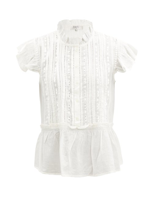 Sea - Ingrid Shirred Broderie-anglaise Cotton Blouse - Womens - White