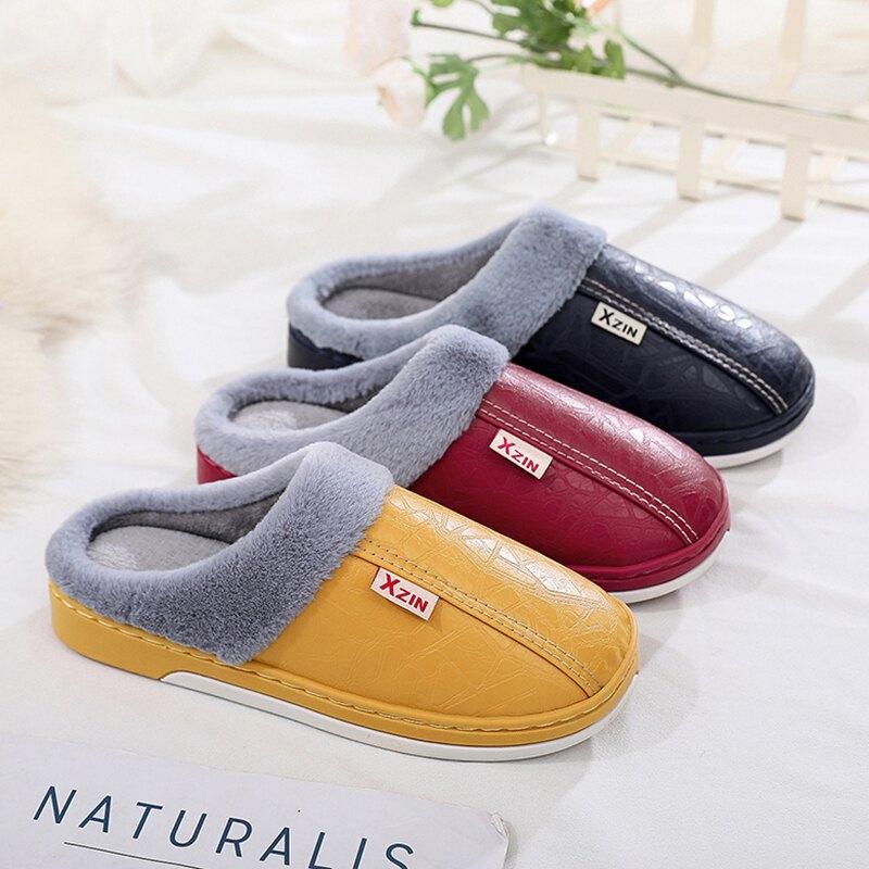 棉拖鞋女秋冬家用一對包跟室內防滑情侶新款厚底月子pu皮毛拖鞋男