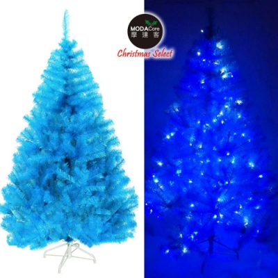 摩達客耶誕-台灣製5呎/5尺(150cm)豪華版晶透藍系聖誕樹(不含飾品)+100燈LED燈藍白光2串(附IC控制器)