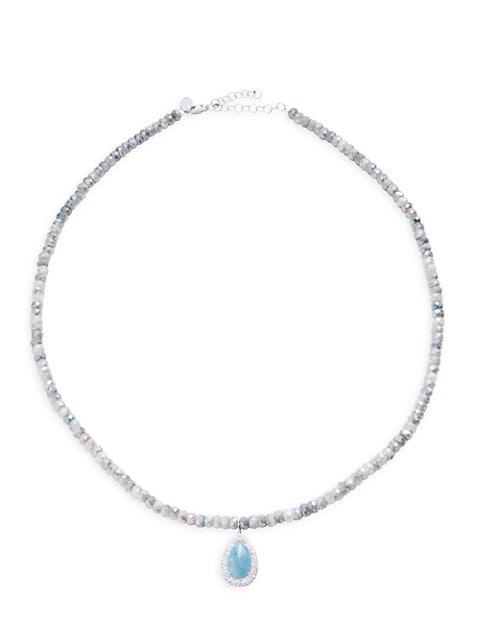 Silverite, Paraiba Stone & Diamond Beaded Pendant Necklace
