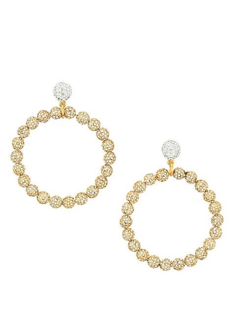 Two-Tone & Crystal Large Drop Hoop Earrings