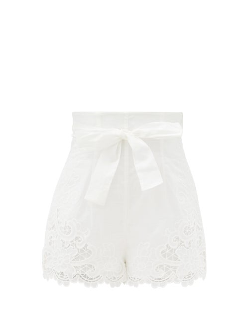 Zimmermann - Lulu Broderie-anglaise Cotton Shorts - Womens - Ivory