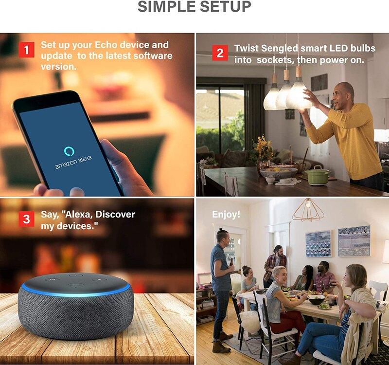 [9美國直購] 智能燈泡 Amazon echo 用 Sengled Smart Light Bulb, Bluetooth Mesh E26 Smart Bulb  t01