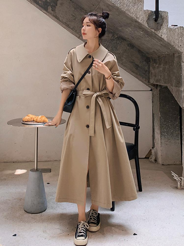 長版風衣女 休閑垂感風衣外套女2020年秋季新款百搭流行韓版寬松英倫風大衣