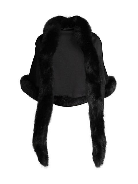 Fox Fur-Trim Cashmere Shawl