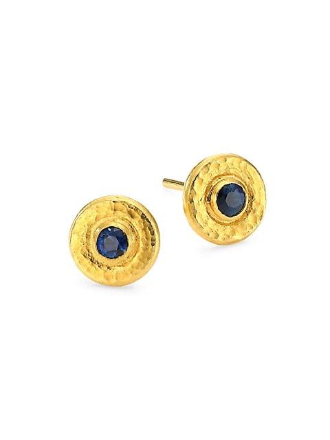 Rain 24K Yellow Gold & Blue Sapphire Stud Earrings