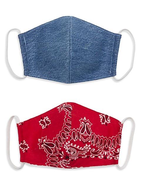 2-Pack Upcycled Denim & Bandana Face Masks Set