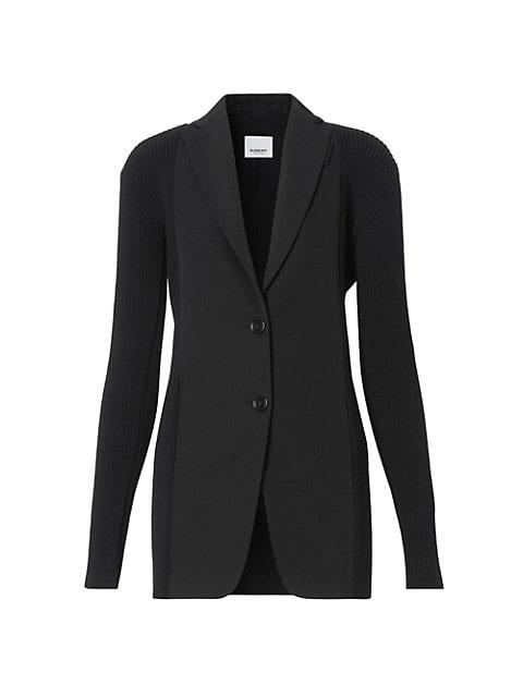 Ribbed Panel Wool Blazer Jacket
