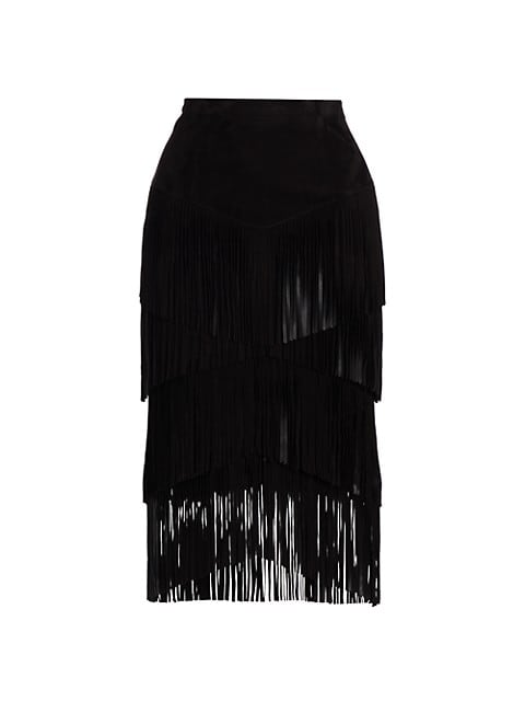 Suede Fringe Tiered Pencil Skirt