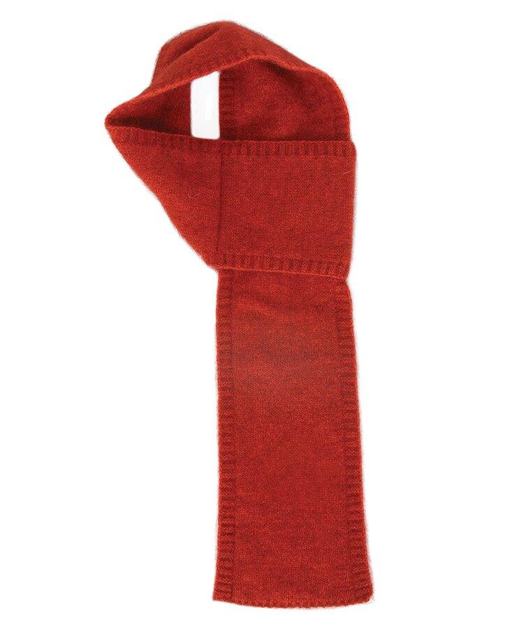 紐西蘭貂毛羊毛圍巾*南瓜紅(窄版12公分)