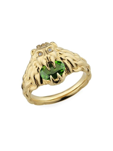 Lionhead Ring in Yellow Gold, Chrome Diopside and Diamonds