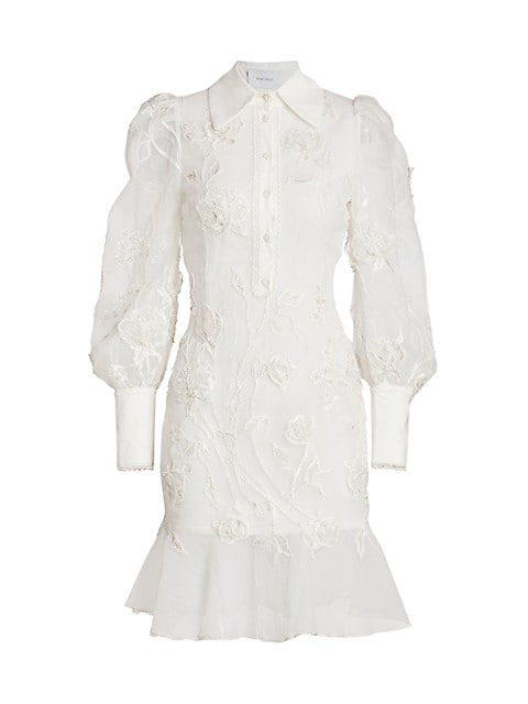Embroidered Puff-Sleeve Flutter Shirtdress