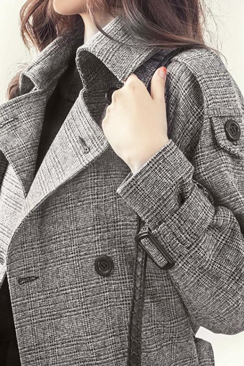 韓版冬裝千鳥格毛呢外套女春秋收腰顯瘦風衣女中長款潮