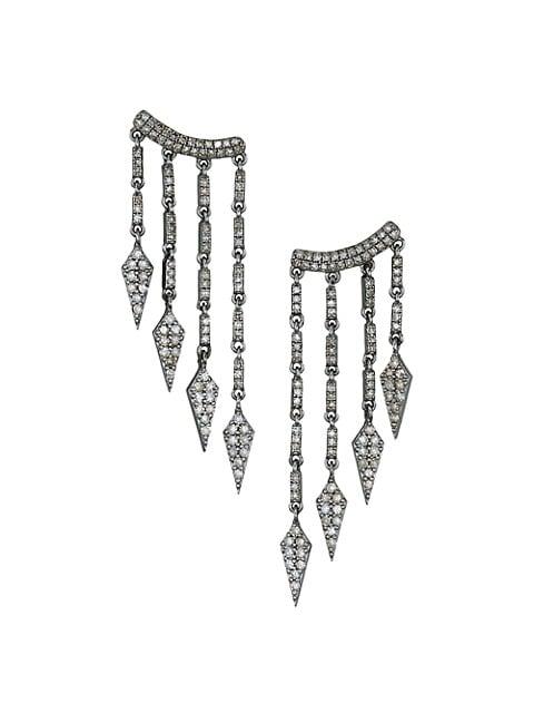14K Yellow Gold, Sterling Silver & Champagne Diamond Chandelier Drop Earrings