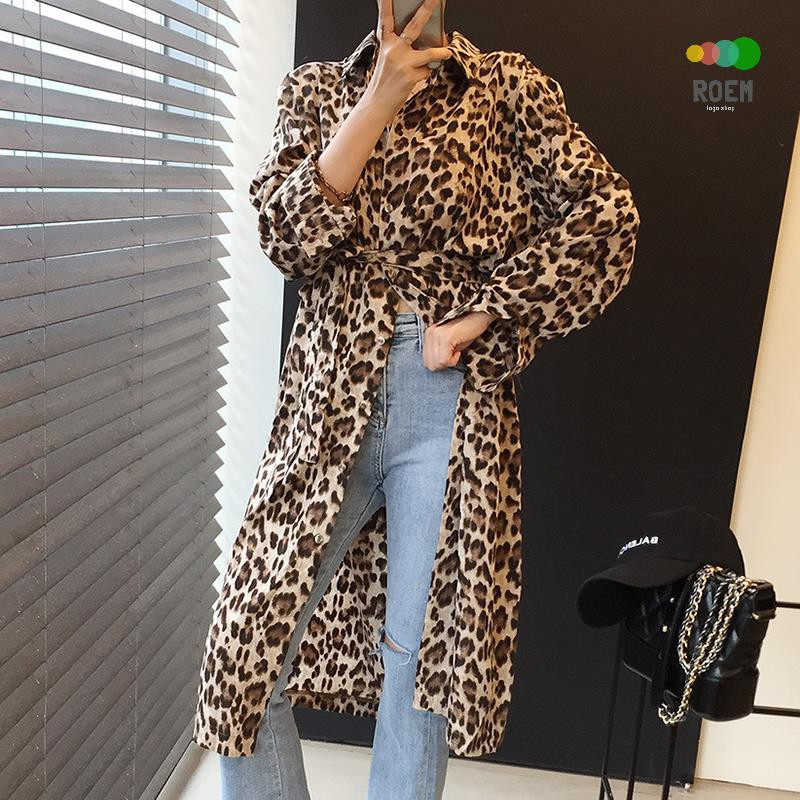 ROEV[任2件折30]韓國chic復古輕熟風豹紋印花翻領單排扣系帶收腰顯瘦襯衫式長袖洋裝連衣裙