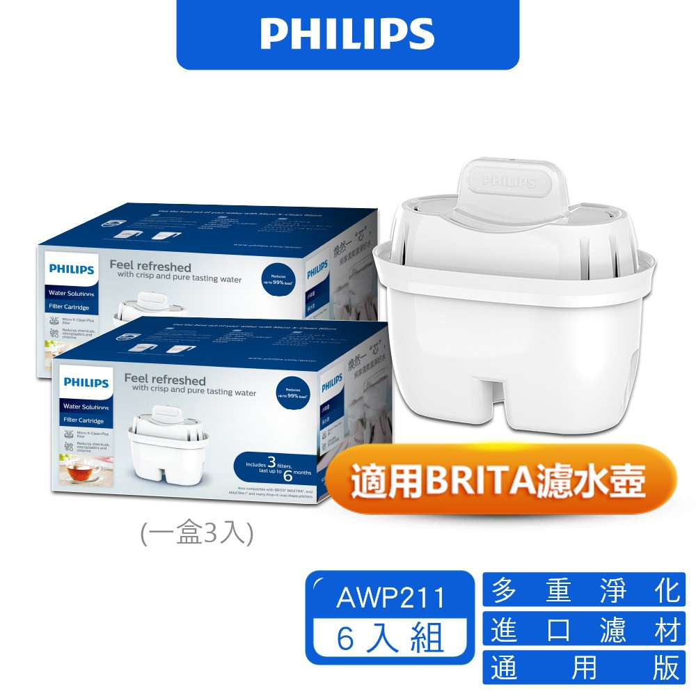 PHILIPS 飛利浦 AWP211 超濾濾水壺濾芯 通用版 適用 BRITA濾水壺 (6入組) 廠商直送 現貨