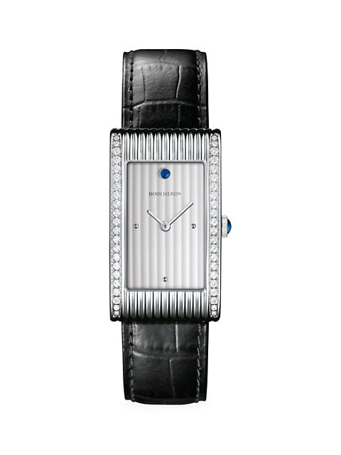 Reflet Stainless Steel, Diamond, Sapphire & Alligator Strap Large Watch
