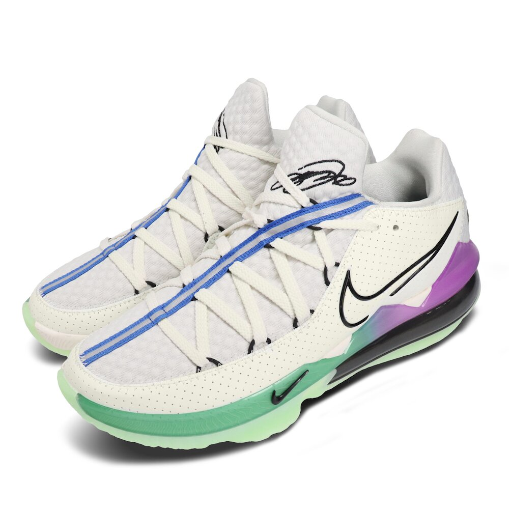 NIKE 籃球鞋 Lebron XVII Low 運動 男鞋 氣墊 避震 包覆 明星款 反光 球鞋 綠 灰 [CD5006-005]