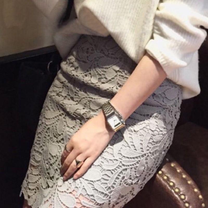 蕾絲盤花超美氣質修身窄裙