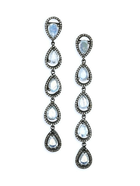 Black Rhodium-Plated Silver, Moonston & Diamond Linear Drop Earrings