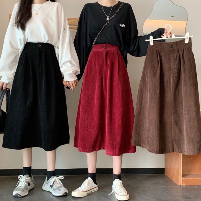 韓版高領a字裙燈芯絨過膝裙素面氣質款設計感小眾洋氣減齡高腰素色中長裙大擺裙半身裙女