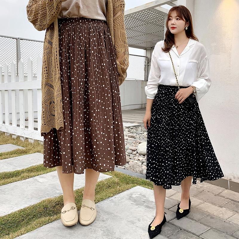 韓版雪紡半身裙 大尺碼長裙 胖mm鬆緊腰百褶裙 22P303