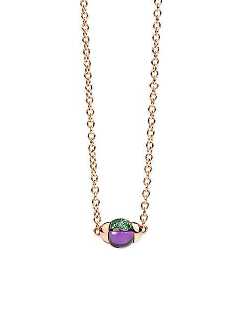 M'Ama Non M'Ama Amethyst, Tsavorite & 18K Rose Gold Pendant Necklace