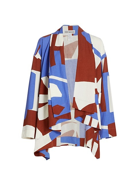 Printed Open-Front Short Jacket