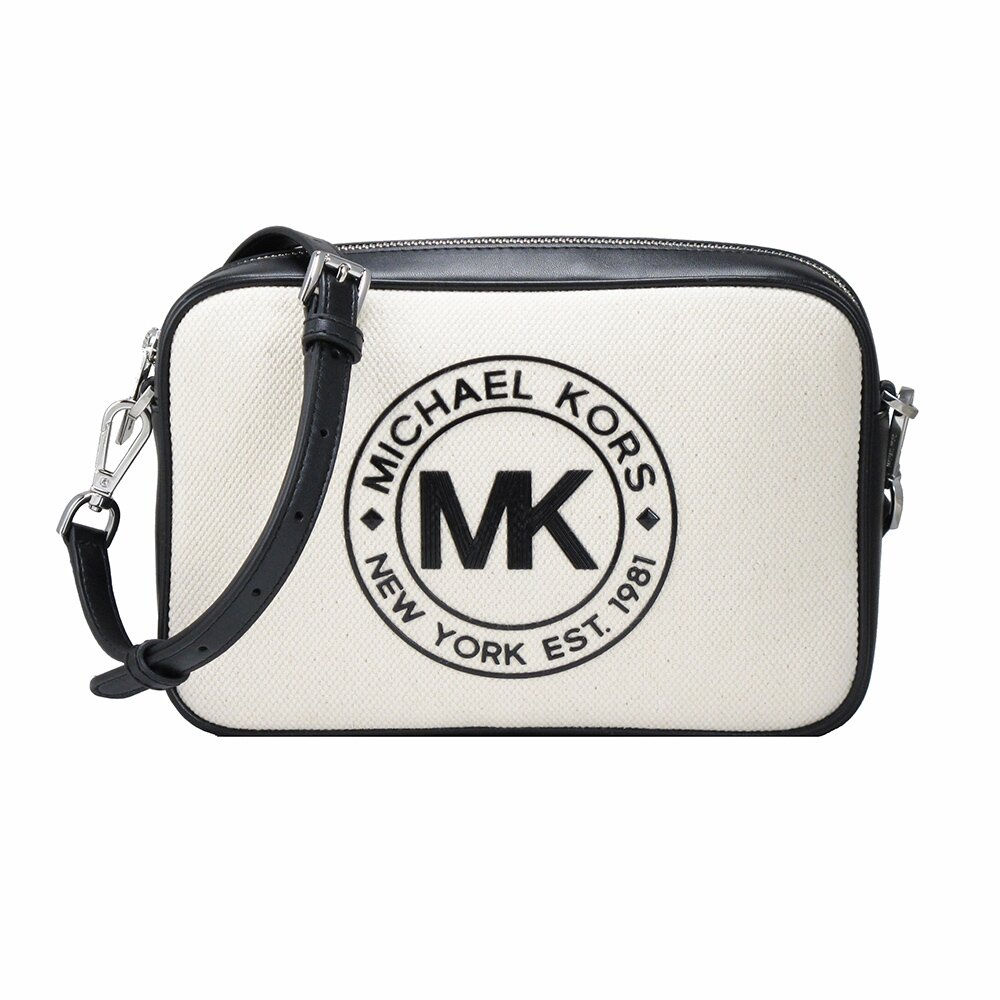 MICHAEL KORS帆布LOGO美型斜背包(黑米白)