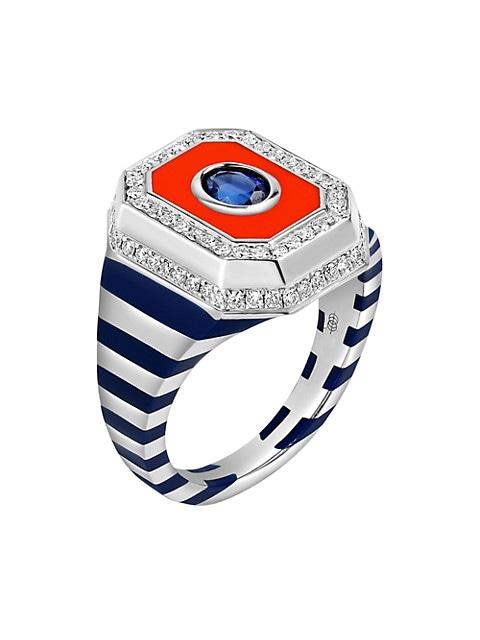 Tsang 18K White Gold, Diamond, Blue Sapphire & Enamel Signet Ring