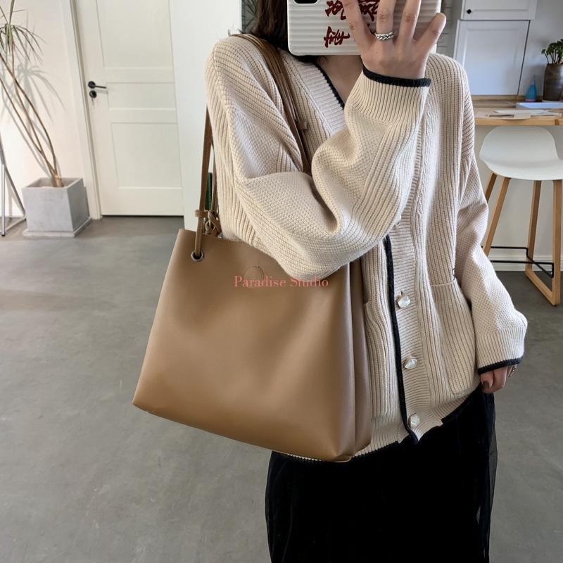 自製韓系大容量側背包女包新品韓版洋氣單肩大包包軟皮手提水桶包子母包