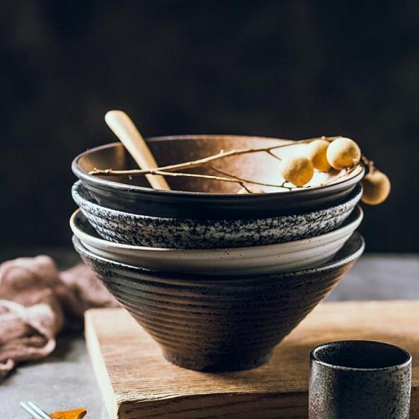 碗 日式陶瓷碗 家用大號拉面碗飯碗面條湯碗 創意餐具套裝商用斗笠碗【快速出貨八折鉅惠】