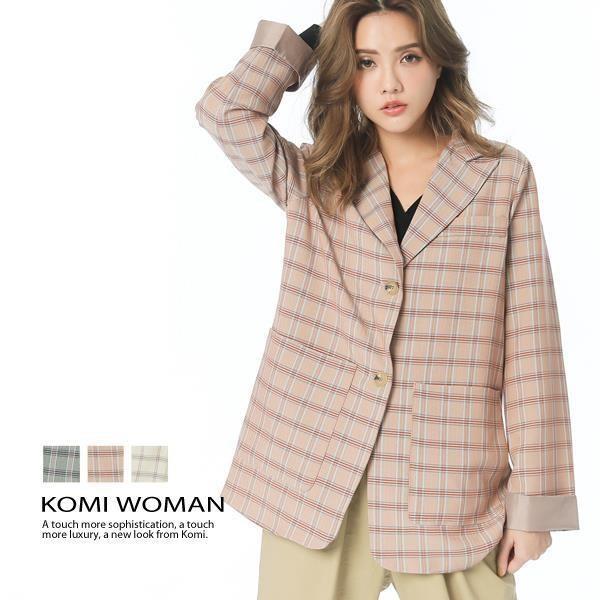 KOMI-復古格紋西裝外套‧全裡‧三色