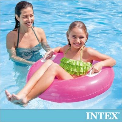 INTEX 亮彩雙握把充氣泳圈-直徑76cm-3種顏色可選(59258)