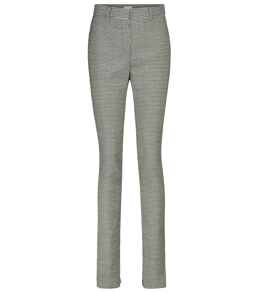 Houndstooth high-rise slim pants