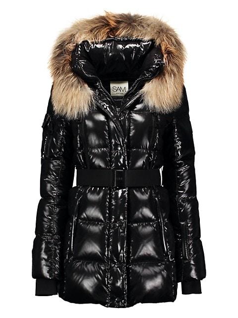 Millennium Fox Fur-Trim Belted Down Puffer