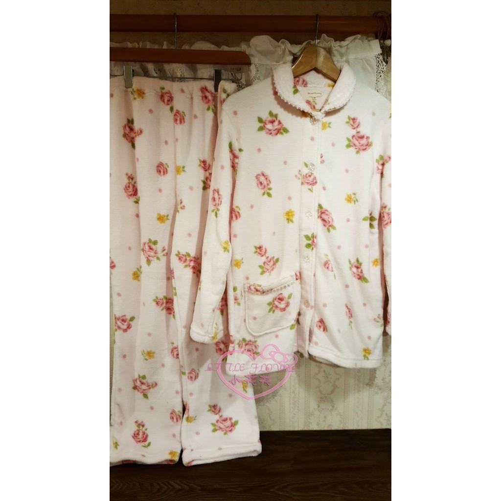 ♥小玫瑰日貨正版♥Relax Unbaen玫瑰絨毛粉色睡衣套組M號 舒適好穿保暖有香氣冬天居家睡眠 10413401