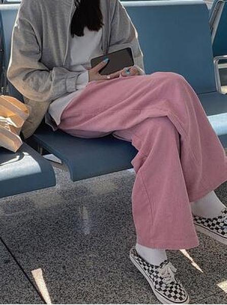粉色燈芯絨褲子女秋冬寬鬆直筒高腰拖地長褲休閒寬管褲垂感刷毛冬