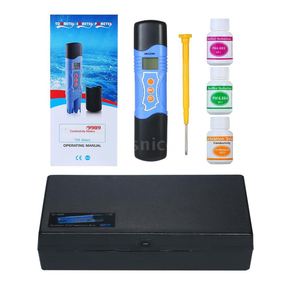pH酸鹼度/EC電導率/TEMP溫度測試儀水質分析儀EC-9989 防水水質測試儀電導率計水質筆不帶電池發貨[Sis]